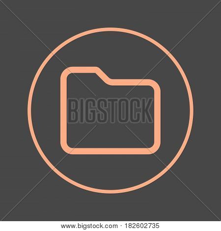 Folder circular line icon. Round colorful sign. Flat style vector symbol