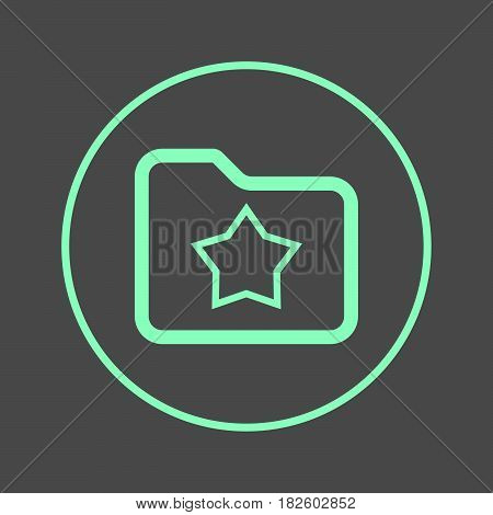 Favorite folder with star circular line icon. Round colorful sign. Flat style vector symbol