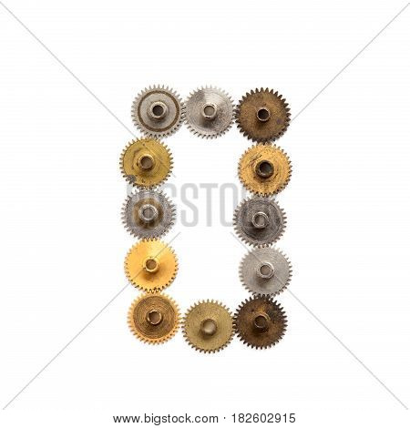 Digit number zero steampunk cogs gears mechanical design. Vintage rusty shabby metal textured industrial figure 0. Retro technology machinery wheels connection concept. White background, macro view.