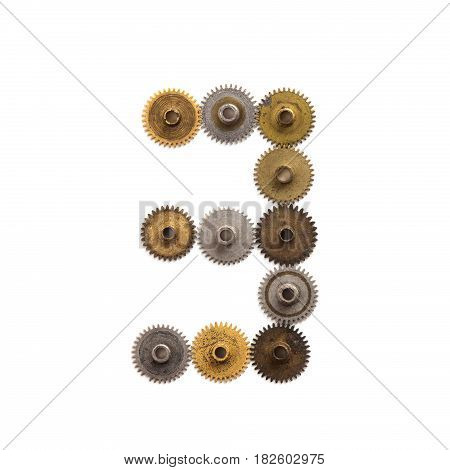 Digit number three steampunk cog gear mechanic design. Old rusty shabby metal textured industrial figure 3. Retro technology machinery wheels connection concept. White background, close-up.
