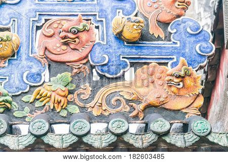 Gunagdong, China - Nov 29 2015: Roof At Chen Clan Ancestral Hall. A Famous Historic Site In Guangzho