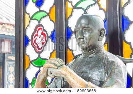Gunagdong, China - Nov 28 2015: Wong Fei-hung Statue At Wong Fei-hung Memorial Museum. A Famous Hist