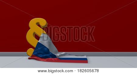 paragraph symbol and flag of russia - 3d rendering