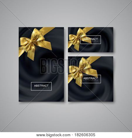 Stationery Set Of Black Swirling Background. Vector Illustration. Blending Whirlpool of Black Oily Substance With Golden Bows. Diffusion Texture. Decorative Element for Design