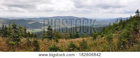 Panoramic view, mountains and landscape Jeseniky, Moravia, Czech Republic, Europe