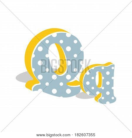 Capital and numeric cute dotted 3d letter Q isolated on white background. Vector illustration. Element for design. Kids alphabet.