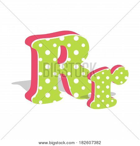 Capital and numeric cute dotted 3d letter R isolated on white background. Vector illustration. Element for design. Kids alphabet.