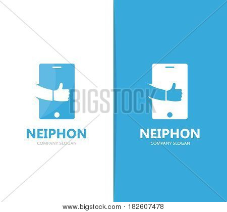 Vector of phone and like logo combination. Mobile and best symbol or icon. Unique social and device logotype design template.