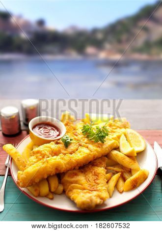 Traditional fish and chips by the sea