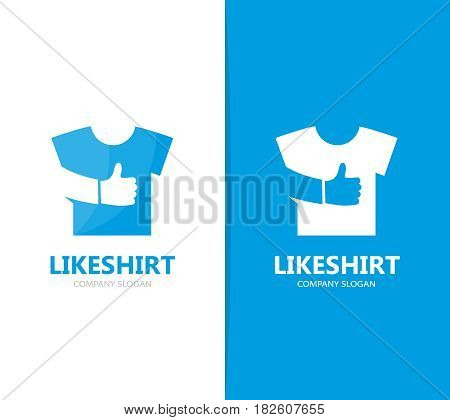 Vector of cloth and like logo combination. Shirt and best symbol or icon. Unique fashion and garment logotype design template.