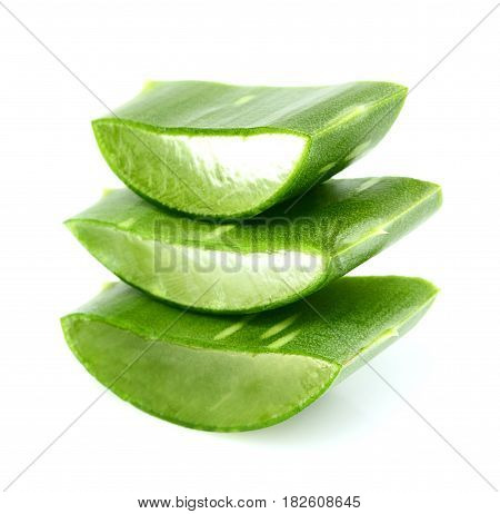 Chopped leaf aloe close-up isolated on a hite background.
