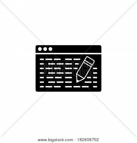 Seo copywriting line icon, seo and development, browser with pencil sign, a filled pattern on a white background, eps 10.