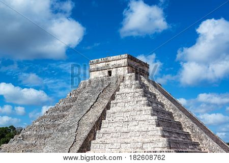 Chichen Itza Pyramid And Nice Sky