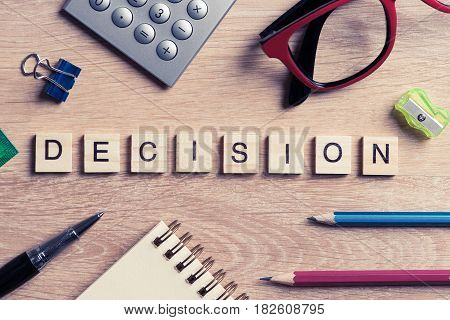 Business workplace with office stuff and desicion making concept