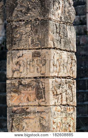 Carved Column In Chichen Itza
