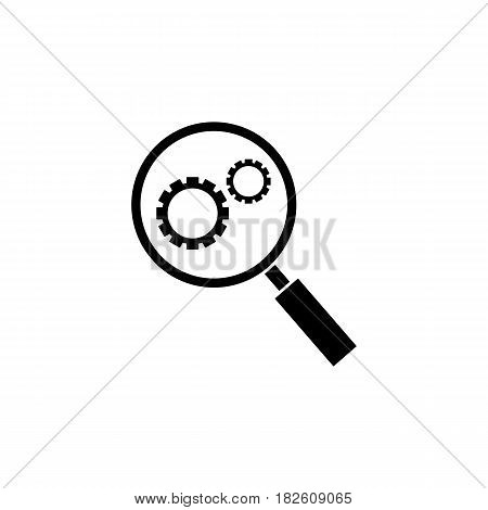 Research optimization solid icon, seo and development, Magnifier with cog, a filled pattern on a white background, eps 10.