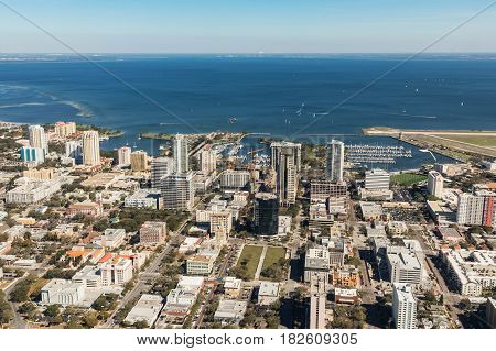 Aerial view of downtown St. Petersburg Florida. Landing at the airport in St. Petersburg