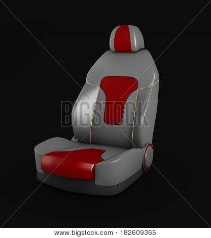3D Illustration Gray Car Seat. Automobile Details, Isolated Black