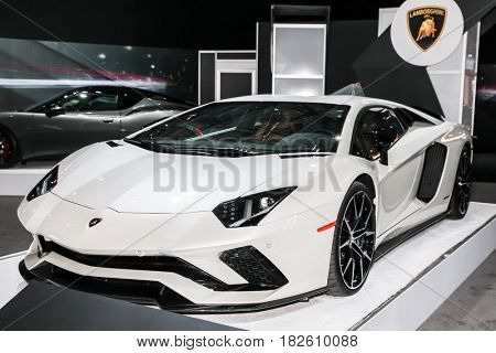 NEW YORK- APRIL 12: Lamborghini Aventador S shown at the New York International Auto Show 2017, at the Jacob Javits Center. This was Press Preview Day One of NYIAS, on April 12, 2017 in New York City