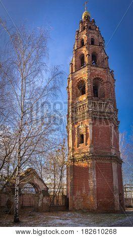 The belfry of St. John the Baptist Church in Yaroslavl at winter