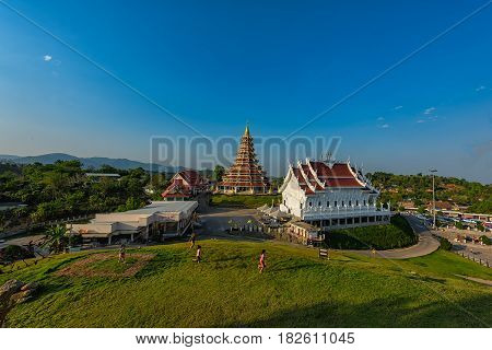 Wat Huai Pla Kung (Temple) in Chiang Rai,Thailand.APR 20,2017 Wat Huai Pla Kung temple the pagoda in Chinese style in Chiangrai province of Thailand.well known worldwide. Opened on 19 November 2005