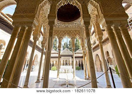 Patio de los Leones Patio of the Lion in the Palacios Nazaries. Alhambra Granada Andalucia Spain.