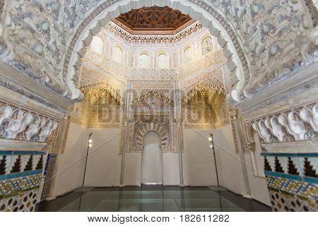 Beautiful interior of the Moorish Madrasah of Granada Andalusia Spain