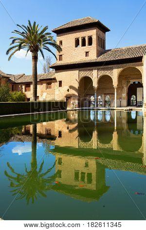 Partal Palace Palacio de Partal in Alhambra Granada Andalusia Spain