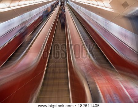 PRAGUE, CZECH REPUBLIC - MARCH 5 2017: Tunnel with subway escalator