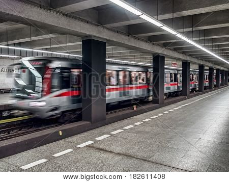 PRAGUE, CZECH REPUBLIC - MARCH 5 2017: Prague subway train leaving the platform