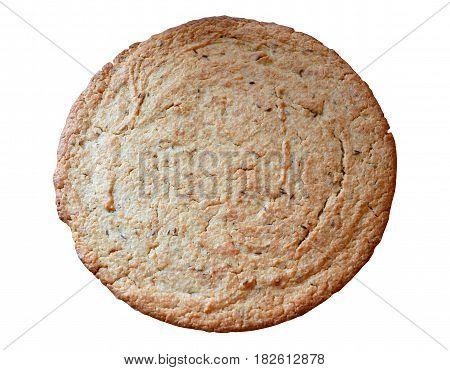 Round flat bread with caraway seeds isolated on a white