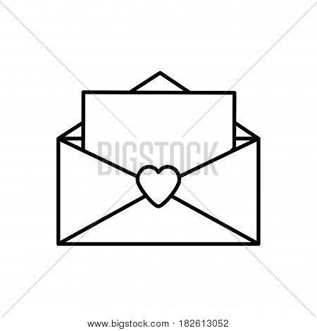 message letter love romace outline vector illustration eps 10