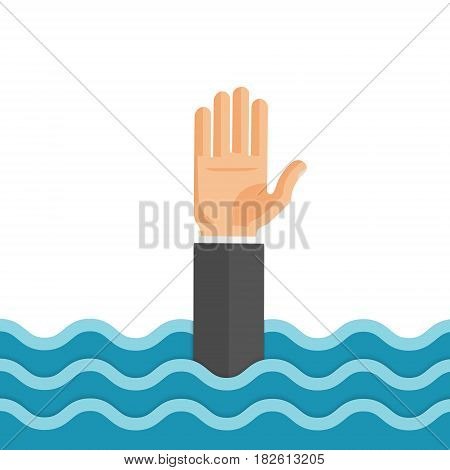 Flat style vector concept illustration of drowning man reaching out hand for help.