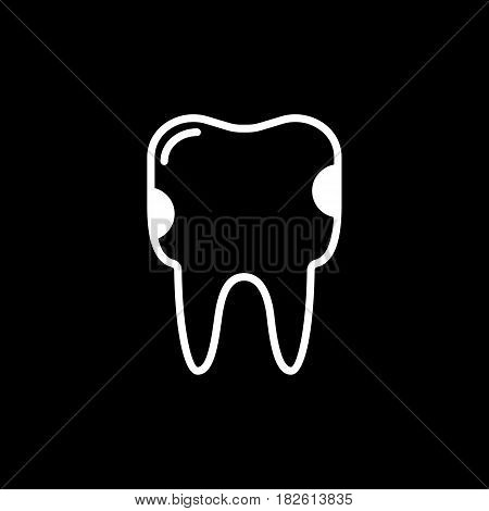 Tooth caries vector line icon isolated on black background. Tooth caries line icon for infographic, website or app. Eps 10