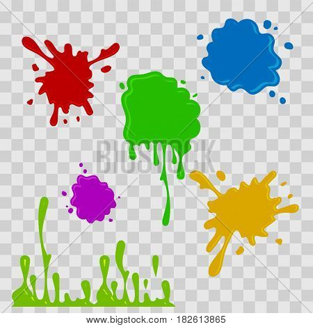 Paint drop abstract illustration. Multicolor splashes on checkered transparent background. Flat style. Vector set