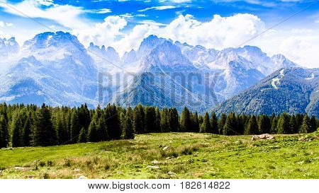 Panoramic view of the Brenta Dolomites mountain range
