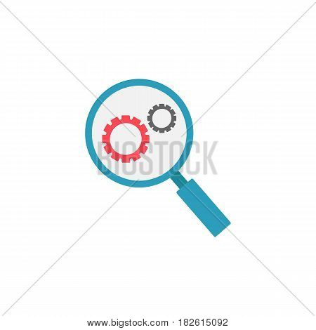Research optimization flat icon, seo and development, Magnifier with cog, a colorful solid pattern on a white background, eps 10.