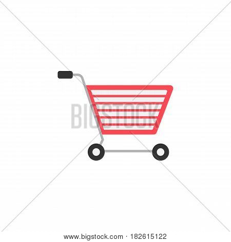 E-commerce flat icon, seo and development, shopping cart sign, a colorful solid pattern on a white background, eps 10.