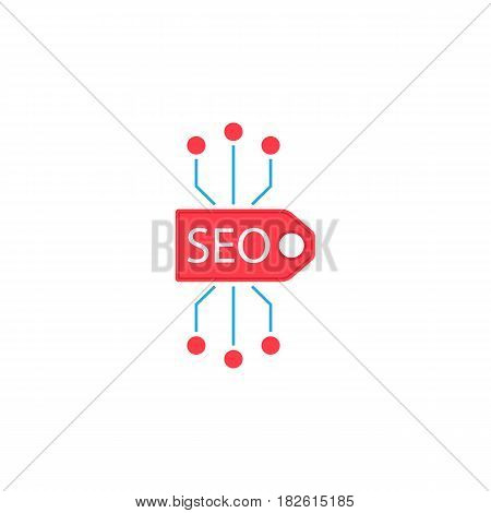 Seo tag flat icon, seo and development, marketing sign, a colorful solid pattern on a white background, eps 10.