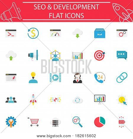 SEO and Development flat pictograms package, marketing symbols collection, vector sketches, logo illustrations, Search Engine Optimization colorful solid icon set isolated on white background, eps 10.