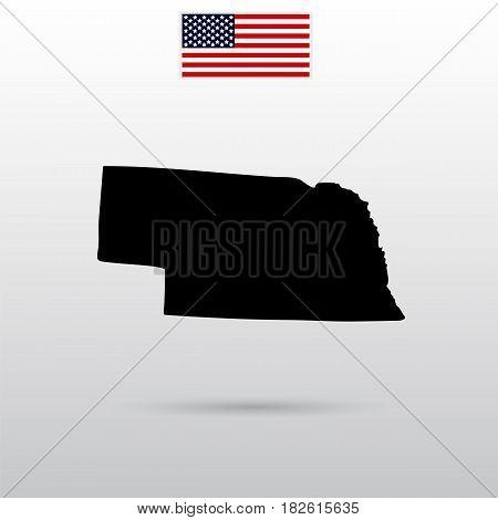 Map of the U.S. state of Nebraska. American flag