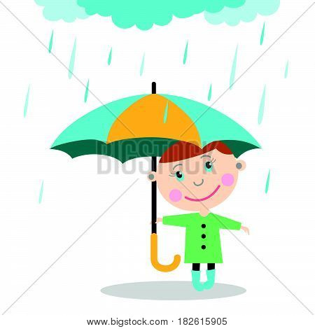 Boy with umbrella standing under the rain. Vector Illustration