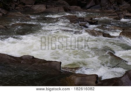 Fast, noisy mountain river, natural background, relaxation
