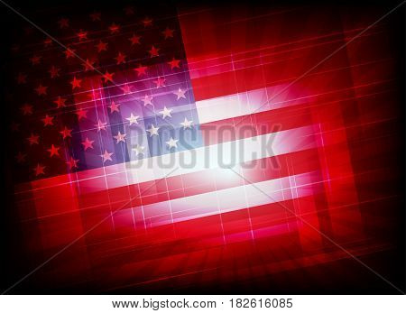 abstract a dynamic, bright red background with a silhouette of the American flag