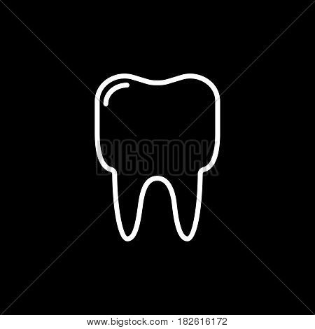 Outline tooth icon vector illustration on black background. eps 10