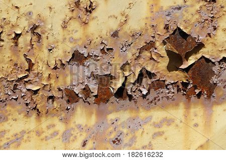 Detail of the old rusty metal - flaky paint