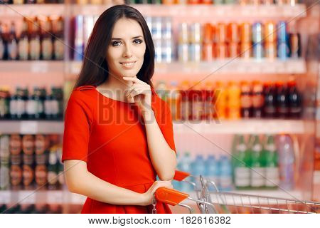 Smiling Woman in Front of the Soda and Refreshing Beverages Shelf