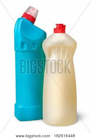 Two plastic bottles of disinfectant near isolated on white background