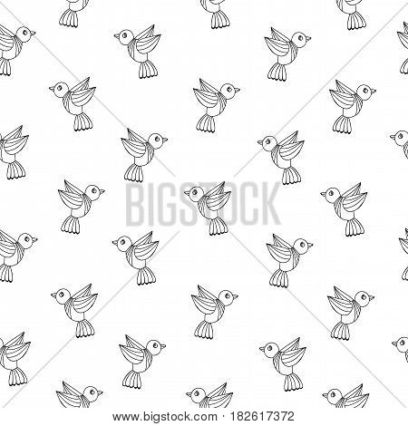 Simply seamless pattern with black line birds on the white background. Vector background with isolated bird for printing on fabric paper for scrapbook gift wrap.