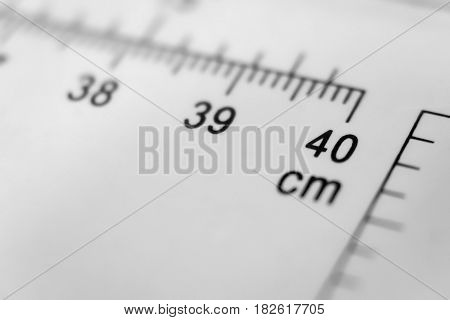 Scale number forty on ruler, macro view